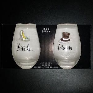 Rae Dunn Bride & Groom Stemless Wine Glasses